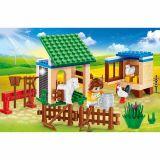Set constructie Ecofarm staul cu cal si cotet cu gaini, Banbao