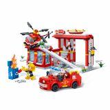 Set constructie Statie, masina interventie si elicopter pompieri, Banbao