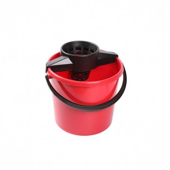 Galeata rotunda, 10 litri, cu storcator si maner plastic, Eco, rosie