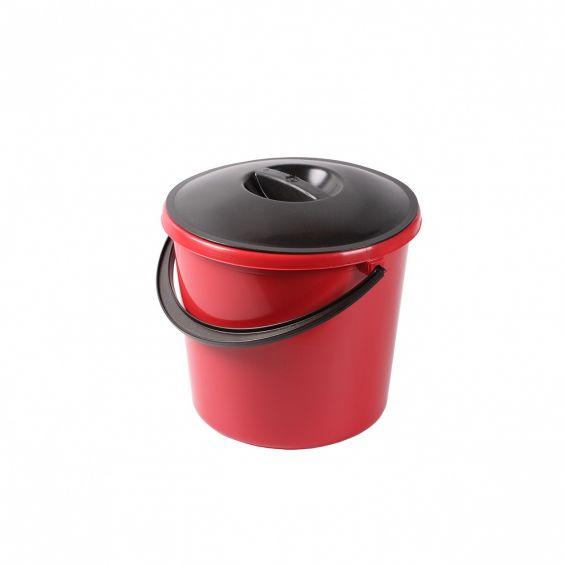 Galeata rotunda, 10 litri, Eco, cu capac negru