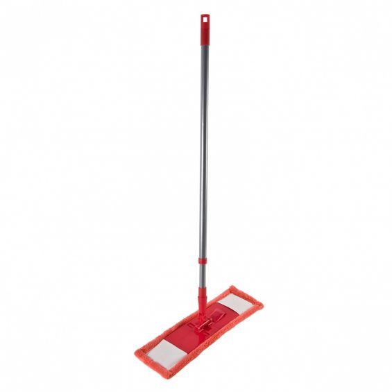 Mop Microfibra, coada metalica, rosu