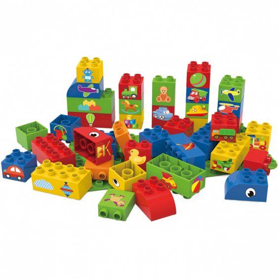 Set educational pentru baieti, 40 cuburi, 1 placa