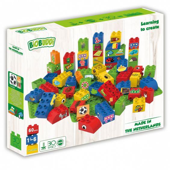 Set educational pentru baieti, 60 cuburi, 2 placi