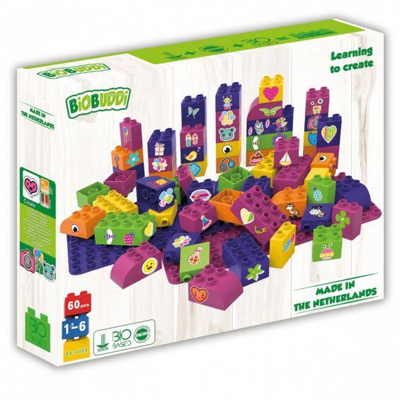 Set educational pentru fete, 60 cuburi, 2 placi