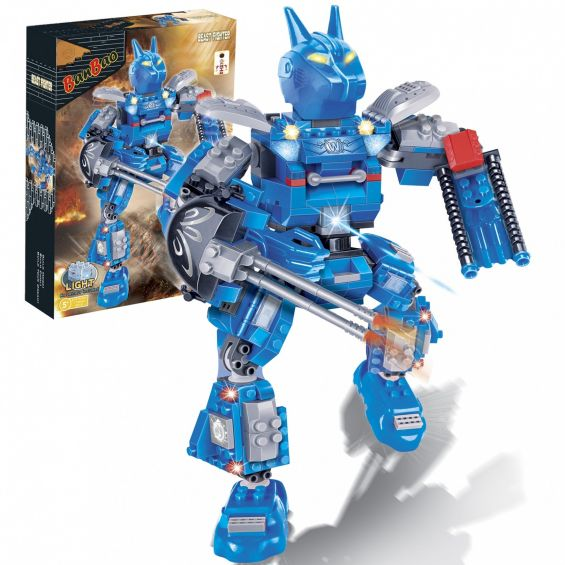 Set constructie Robot albastru cu led, Banbao