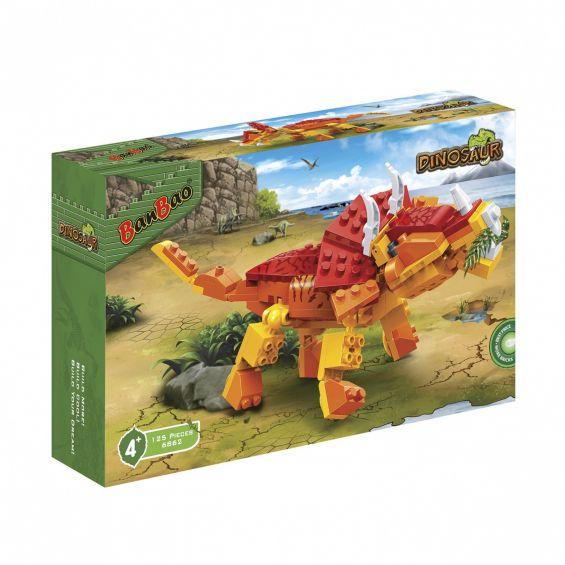 Set constructie Dinozaur patruped, cu coarne, Banbao