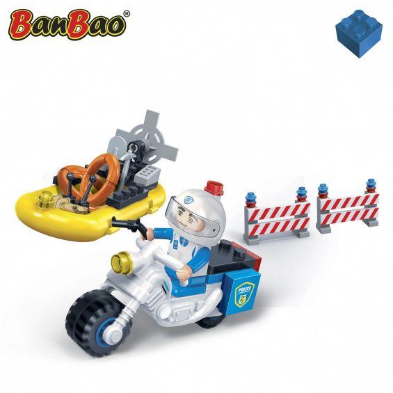Set constructie Motocicleta si salupa politie, Banbao