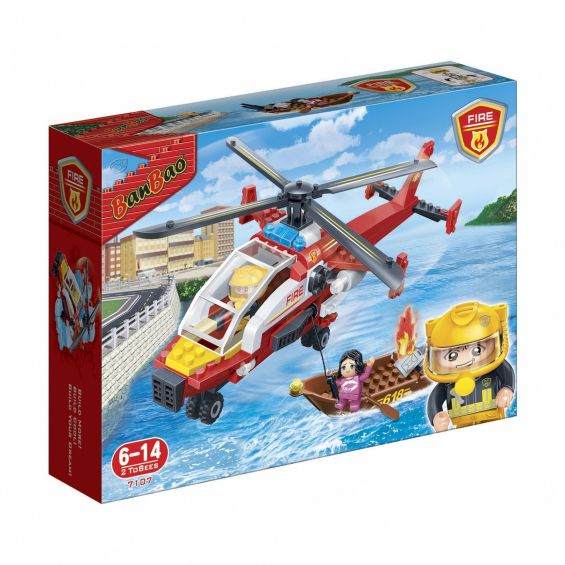 Set constructie Elicopter cu barca de salvare, Banbao