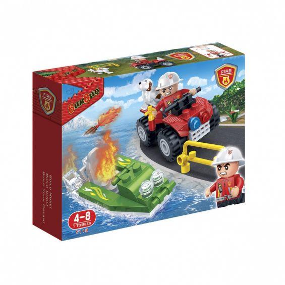 Set constructie Salupa si ATV pompieri, Banbao