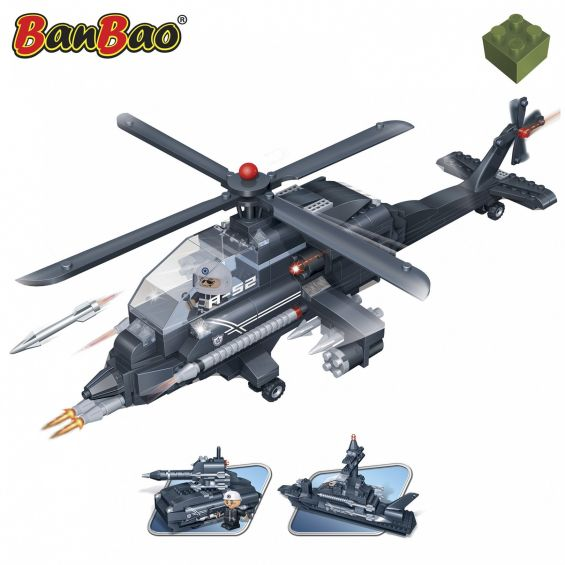 Set constructie, 3 in 1, elicopter, tanc si nava, Banbao