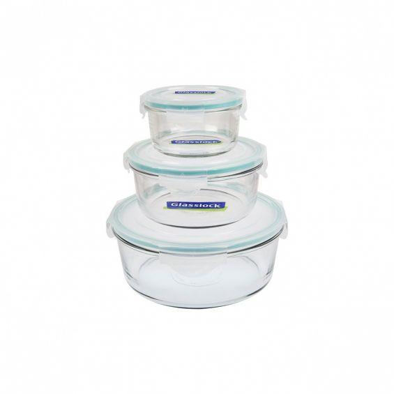 Set 3 vase rotunde din sticla cu capac din plastic, Glasslock