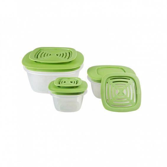 Set 3 cutii alimente, patrate, Produce Saver