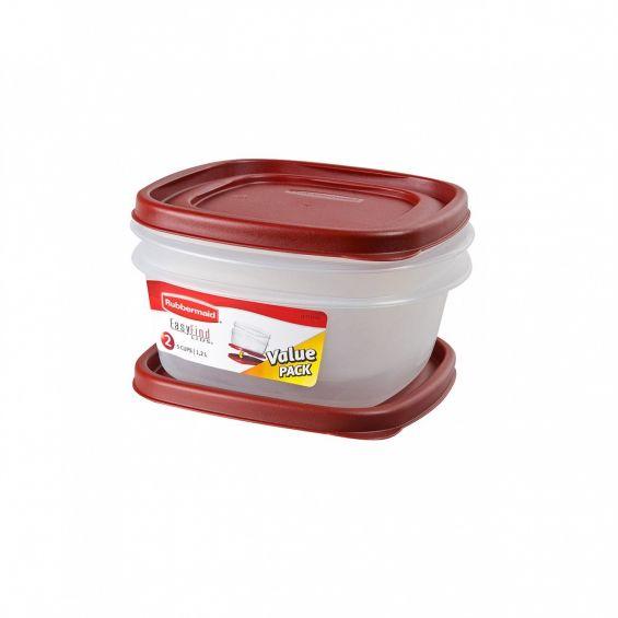 Set 2 cutii alimente, patrate, 1,2 litri, Easy Find Lids