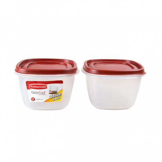 Set 2 cutii alimente, patrate, 1,7 litri, Easy Find Lids