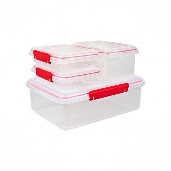 Set 4 cutii alimente, dreptunghiulare, Beta Clip
