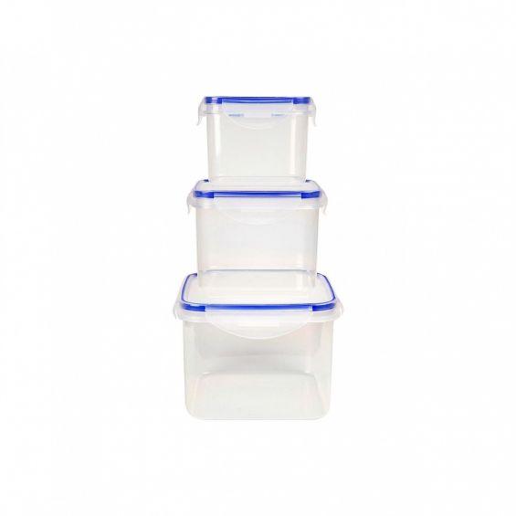 Set 3 cutii alimente, patrate, 750 ml+1,36 litri+2,5 litri, Lugo Clip