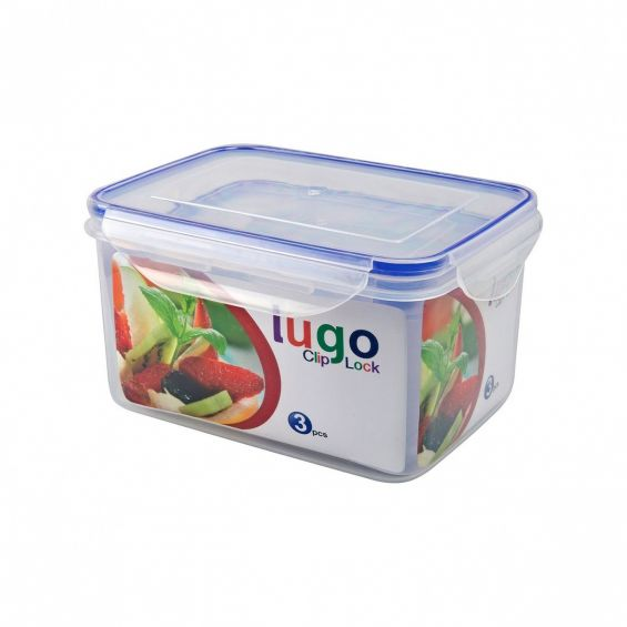 Set 3 cutii alimente, dreptunghiulare, 550 ml+1,2 litri+2,2 litri, Lugo Clip
