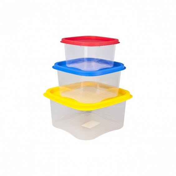 Set 3 cutii alimente, patrate, Rainbow