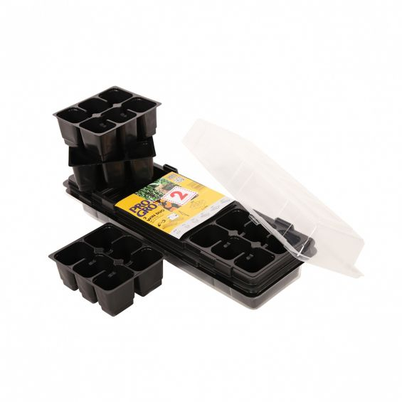 Set 2 minisere cu 18 ghivece si capac, dimensiune 47x16 cm