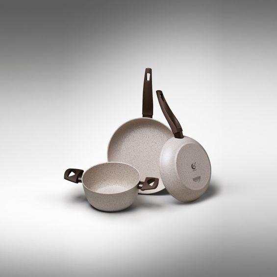 Cratita joasa cu particule minerale si manere, diametru 28 cm, Gea Induction