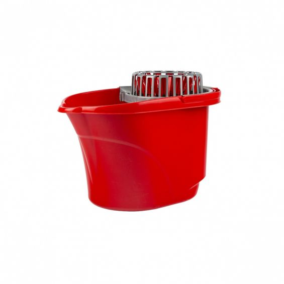 Galeata ovala, cu storcator si maner plastic, 17 litri, rosie