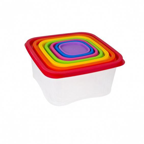 Set 7 cutii alimente, patrate, 5,6 litri+3,8 litri+1,8 litri+1,1 litri+630 ml+330 ml+210 ml, Rainbow