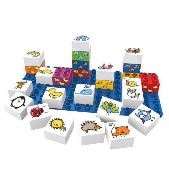 Set educational animale, 27 cuburi, 1 placa