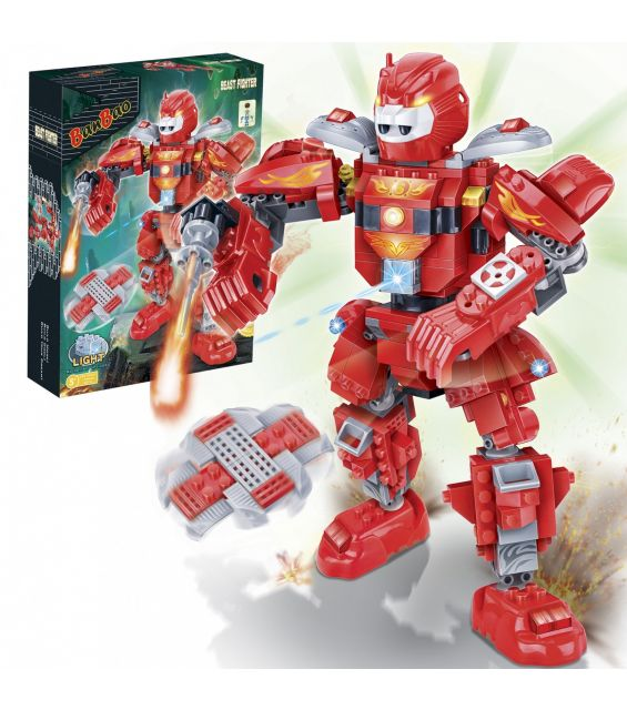 Set constructie Robot rosu cu led, Banbao