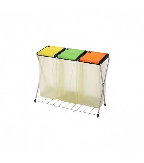 Suport sac menajer, Nature 3 Plus, galben, portocaliu si verde
