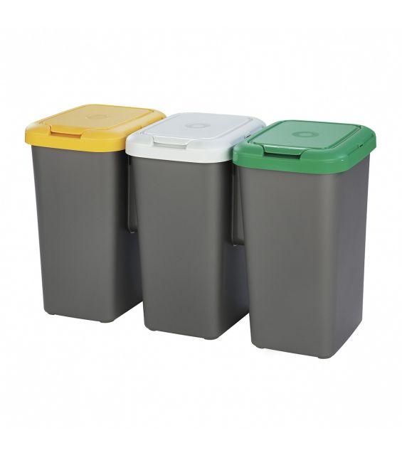 Cos gunoi Trio, 25 litri, galben, alb si verde