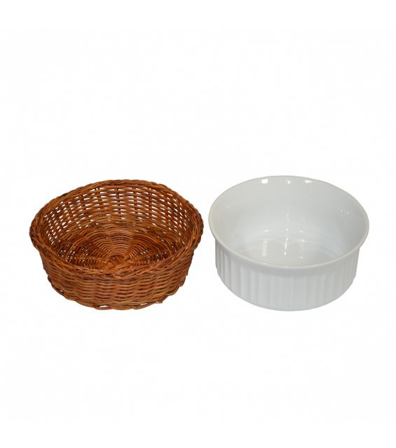 Set bol ceramica cu cosulet impletit, diametru 14 cm