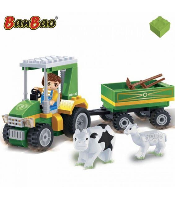 Set constructie Ecofarm, tractor cu remorca, Banbao